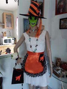 Nouveau noir /& orange jack o lantern patineur stretch robe Horreur Spooky citrouille