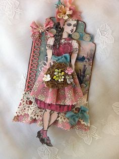 RESERVED FOR AZ  Spring, Easter, Paper Doll, Art Tag, Articulated, Whimsy, Mixed Media, Liberty of London, Antique Lace,  Keepsake, NECteam