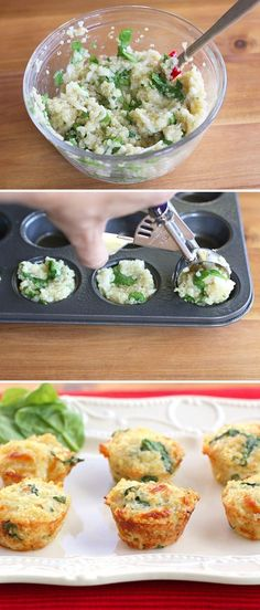 Quinoa Omelette Bites.Healthy spinach, cheese and egg white quinoa bites that are packed with protein. A great way to start your morning! 12 bites