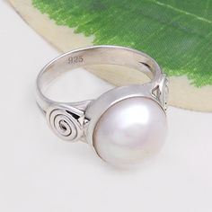 925 SOLID STERLING SILVER FANCY DESIGNER PEARL RING 4.75g DJR4428 #Handmade #Ring