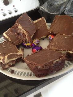 Creme egg brownies!  Made from the following recipe;   http://scarletscorchdroppers.com/2013/03/12/creme-egg-brownies/