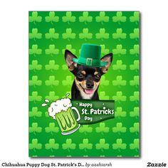 #Chihuahua #Puppy #Dog St. Patrick's Day Green #Clover #Postcard #Irish