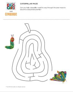 The Very Hungry Caterpillar by Eric Carle - Maze Very Hungry Caterpillar Printables, Caterpillar Craft, Hungry Caterpillar Party, Eric Carle, Reading Projects, Bug Crafts, Maze, Preschool Activities, Birthday Banners