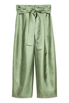 Bő selyemnadrág - Zöld - NŐI | H&M HU