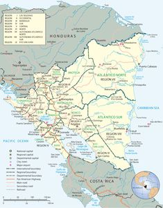 Good map of Nicaragua, with the departments and major cities.