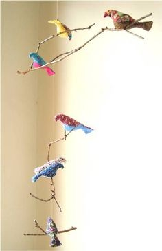 Móbile 3 galhos naturais com passarinhos