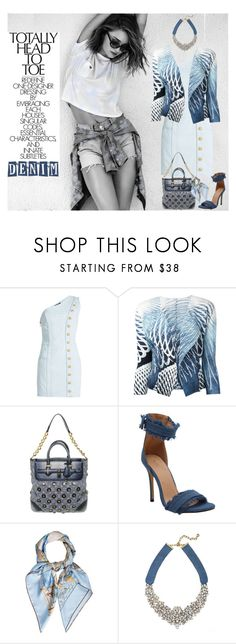 """""""DENIM HEAD TO TOE"""" by melange-art ❤ liked on Polyvore featuring Balmain, Pleats Please by Issey Miyake, Louis Vuitton, Hermès, BaubleBar and alldenim"""