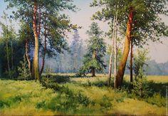 Купить Картина маслом,летний пейзаж - зеленый, картина маслом на холсте, картина маслом в подарок