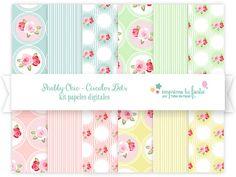 Kit Papeles Digitales  Colección Shabby Chic Círculos por ImprimeTuFiesta
