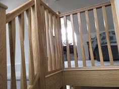 Oak staircase with twisted spindles Types Of Stairs, Glass Balustrade, Joinery, Hardwood, Curtains, Room, Furniture, Home Decor, Stairway