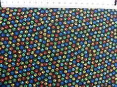 Mini poter patchworkstof - farverig - er et meget flot sort patchworkstof med søde farverige poter