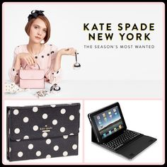 KATE♠️ BLUETOOTH KEYBOARD FOLIO IPAD AIR Cheery dots the bounce across this peppy case designed to protect and display your iPad air. It also conseals a wireless Bluetooth keyboard in still-proof resin-a chic and simple way to transform your tablet into a laptop on the go. kate spade Accessories Laptop Cases