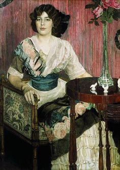 Aleksandr Golovin - Portrait of the Singer Valentina Kuza, 1900's