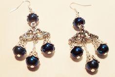 Chandelier earrings royal blue beads on a Tibetan silver charm $4.95