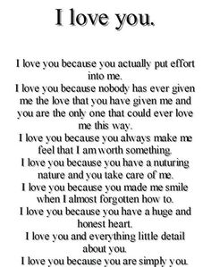I love you because....