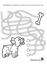 Jeu de labyrinthe gratuit à imprimer, enfants de 4 ans et plus Pre Writing, Writing Practice, Animal Activities, Activities For Kids, Printable Mazes, Free Printable, Halloween Maze, Maze Worksheet, Literacy Worksheets