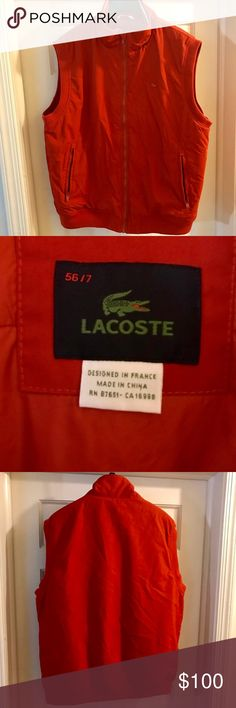 Modern Lacoste Vest Orange Sz 7 XL/L This Clean orange Lacoste Vest is a steal for the price this vest was originally $158 at my Local Lacoste Store compared to my price, always stylish and timeless  and as always Please enjoy and Follow me on IG @ _JustRick_ Lacoste Jackets & Coats Vests