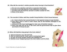 Hachiko Reading Comprehension Quiz / Answer Key and Story Elements