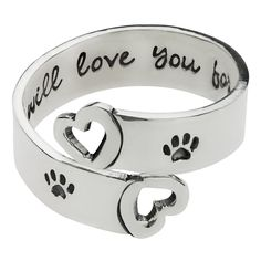 Carry the love you have for your pet in your heart, and on your jewelry. Our sterling silver adjustable ring is accented with two paw prints, along with the words I will love you forever on the inside.