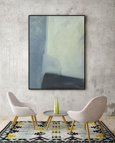 Abstract Modern Blue Green Gray Black Painting On Canvas Bedroom Art Living Room ARt Dining