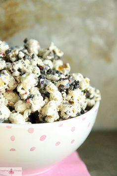 ****cookies and cream popcorn I added mini m&m's for more color. Chase loved it!