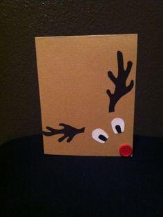 Reindeer card or instead of bow on a pkg! Reindeer card or instead of bow on a pkg! Christmas Card Crafts, Homemade Christmas Cards, Christmas Cards To Make, Kids Christmas, Handmade Christmas, Homemade Cards, Holiday Crafts, Christmas Decorations, Reindeer Christmas