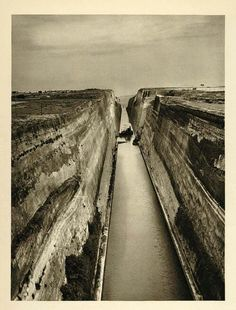 Korinthos canal (isthmus) 1935. Ισθμος Κορινθου 1935. The canal was mooted in classical times and an abortive effort was made to build it in the 1st century AD. Construction finally got under way in 1881 but was hampered by geological and financial problems that bankrupted the original builders. It was completed in 1893