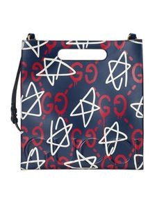 GucciGhost+Small+Leather+Tote+Bag,+Blue/Red+by+Gucci+at+Bergdorf+Goodman.