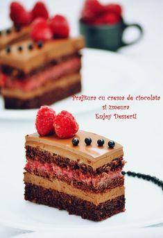 Chocolate cake and raspberries Sweets Recipes, Cupcake Recipes, Just Desserts, Delicious Desserts, Cupcake Cakes, Cupcakes, Chocolate Cream Cake, Chocolate Raspberry Cake, Romanian Desserts