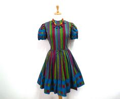 Vintage 1950s Dress Norma Gini California, Cotton 50s Striped Full Skirt Pin-up  Dress Small by KMalinkaVintage on Etsy https://www.etsy.com/listing/184139889/vintage-1950s-dress-norma-gini