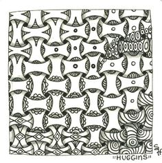 Huggins tangle pattern - variants and transitions by Sandy Hunter CZT Certified Zentangle Teacher