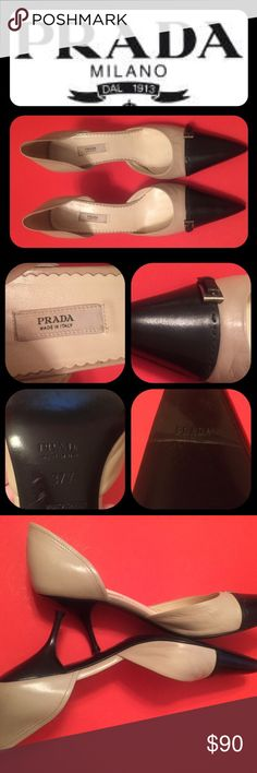 "New Listing! PRADA  100% Authentic PRADA Heels! Gently used.. but, in great condition! Small scratch on outside of one heel.. see pic. small buckle on side of each shoe on vamp.                                         Size is 37.5 * Leather lining * Leather outsole * Heel height 3.5"" Prada Shoes Heels"