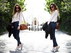 #shirt #jeans #jacket Chicwish.Com Shirt, Topshop Jeans, Quiet Riot Spiked Pumps, Viparo Clothing Jacket, Urban Outfitters Shades