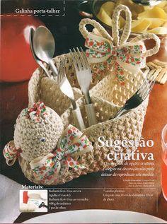 """""""Crochê da Mimi"""": Crochê Endurecido: Galinha porta talheres!!!.. ♪ ♪ ... #inspiration_crochet #diy GB"""