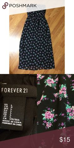 Floral Maxi Dress Maxi dress from Forever 21 in excellent condition! Worn only a couple times. Pattern shown closer in 2nd pic. Size large, fits smaller. Will ship same day as purchased! From a smoke free home. Forever 21 Dresses Maxi