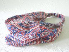 Red White and Blue  Paisley Headband Bandana Hair by thimbledoodle, $8.00
