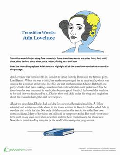 Women's History Month Second Grade Comprehension Worksheets: Ada Lovelace Biography Comprehension Worksheets, Reading Comprehension, Ada Lovelace, Kids Math Worksheets, Math For Kids, Women's History, Kids Reading, Second Grade, Biography
