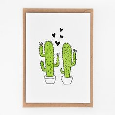Letterpress kaartje cactus liefde