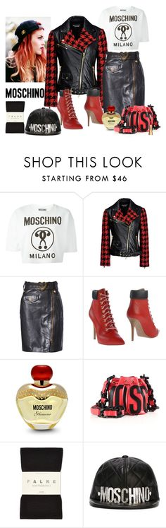 """""""Moschino Grunge"""" by katiethomas-2 ❤ liked on Polyvore featuring Moschino, Boutique Moschino, Falke and Sisley"""