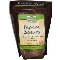 Now Foods, Papaya Spears, 12 oz