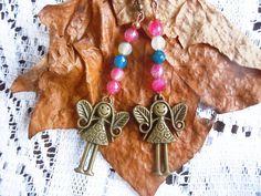 Orecchini Boho con agata colorata e angeli