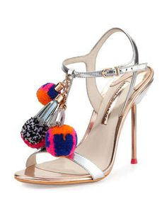 Layla Pom-Pom Metallic Leather Sandal, Silver/Gold by Sophia Webster at Neiman Marcus.