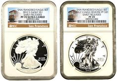 Pre-Order 2012 San Francisco 2 Coin Silver Eagle Proof Set - NGC Certified - You can add a custom deluxe Mahogany Style Box and/or the original US Mint Issued Box when purchasing this product. Coin Store, Gold And Silver Coins, Style Box, Silver Eagles, Silver Dollar, San Francisco, Mint, Personalized Items, Peppermint