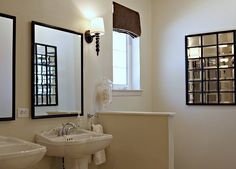 Master bathroom with tan walls paint color, black mirrors; Beige Paint Colors, Wall Paint Colors, Paint Colors For Living Room, Room Paint, Benjamin Moore Paint, Benjamin Moore Colors, Tan Bathroom, Master Bathroom, Lighthouse Landing
