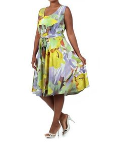 Look what I found on #zulily! Yellow & Purple Fit & Flare Dress - Plus by 1X 2X 3X & More #zulilyfinds