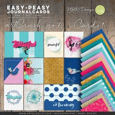 Easy Peasy Cards1 {artCrush No7}  The individual journal and fillercards are great for your digital layouts and project life spreads. #digiscrap #scrapbooking #mixedmedia #artjournaling #cardmaking #hybridscrap #scrapbookingideas #nbk_design #the_lilypad #artsy #photobook #fotobuch #projectlife #projectlifeapp #projectlife52 #documentyourlife #journalcards #templates #fillercards #cards #pocketpages Scrapbook Supplies, Journal Cards, Easy Peasy, Project Life, Photo Book, Spreads, Digital Scrapbooking, Cardmaking, Layouts