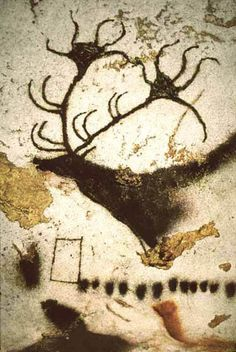 Lascaux. (c. 16,000 BC) Stag in Style III, the first subject in the Axial Gallery. Semifrontal antlers, ear at the back of neck. Quadrangular sign and a complementary stroke.  Comment: Thirteen dots may indicate thirteen months in a lunar year, or coincidental. Additional series of about twenty-six dots under horse to the left of this image. The stag is an Irish Elk