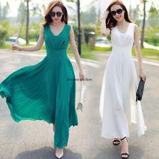 Moda Coreana Mujeres BOHO de gasa una línea Largo Maxi verano playa fiesta vestido 2XL