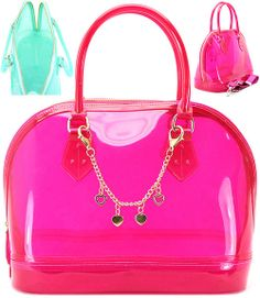 Candy Bag Jelly Purse With Chain Charm Transpa Pink 48