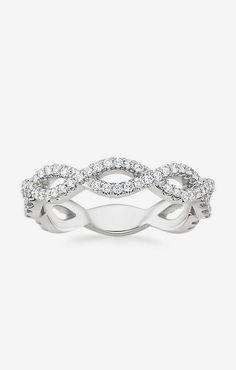 Eternal Twist Diamond Ring in 18K White Gold